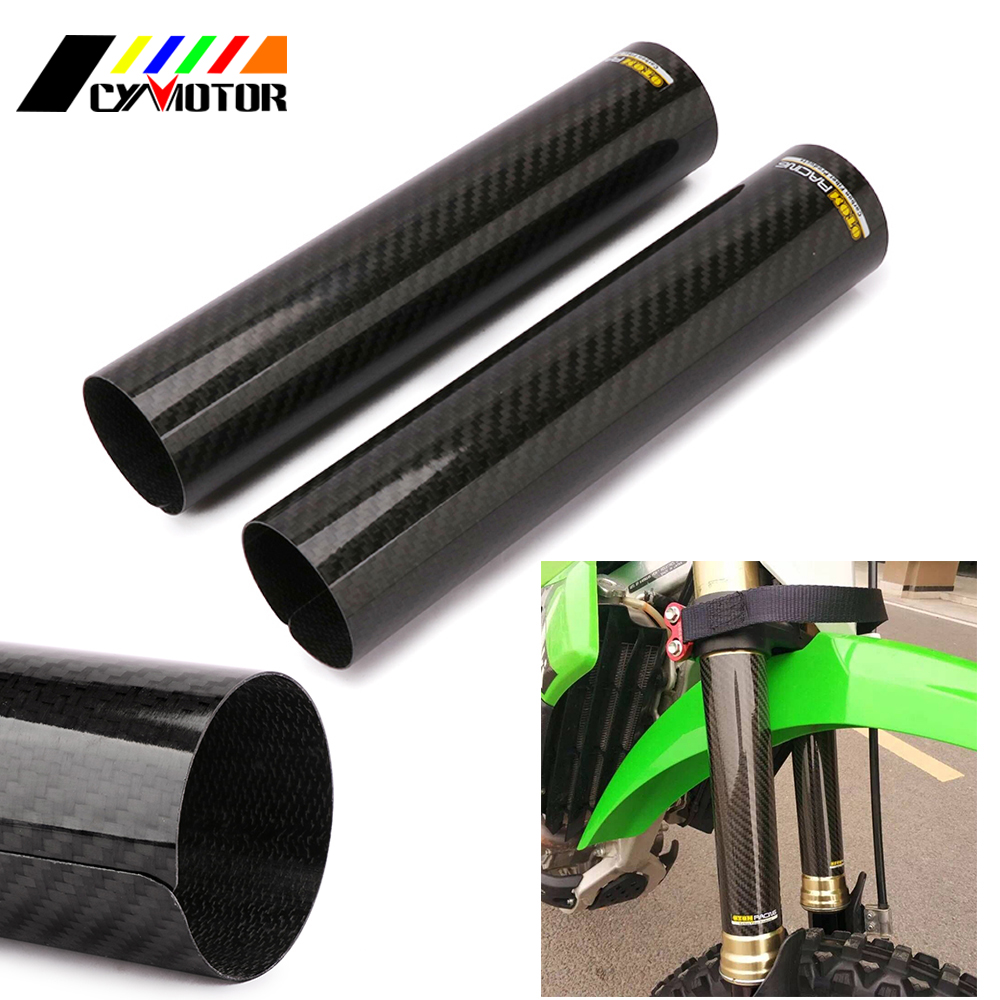 цена на Motorcycle 24CM Carbon Fork Fiber Front Shock Absorption Protect Cover Guard For KTM HONDA YAMAHA SUZUKI KAWASAKI Dirt Pit Bike