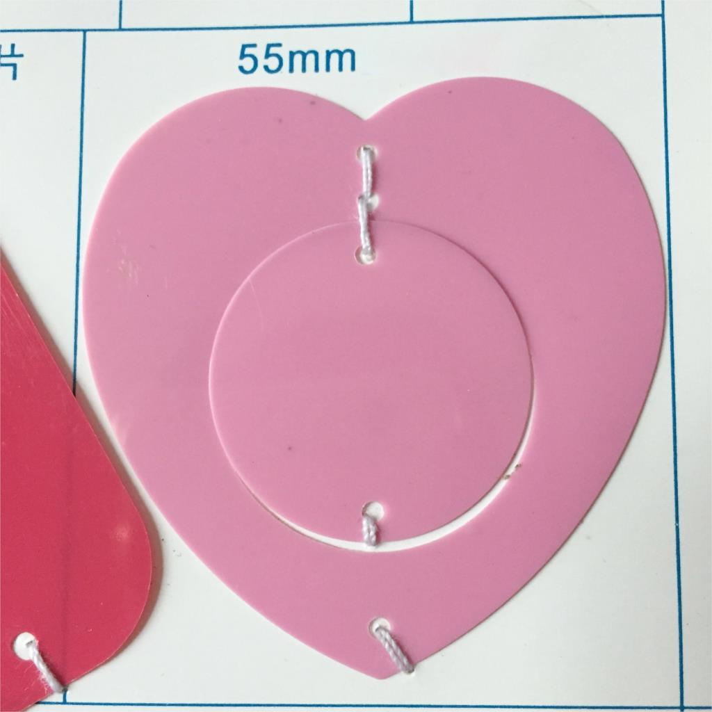 1kg 55mm Love Heart Circle Sequins For Crafts PVC Flat Sewing Accessories With Side Holes Confetti Spangles