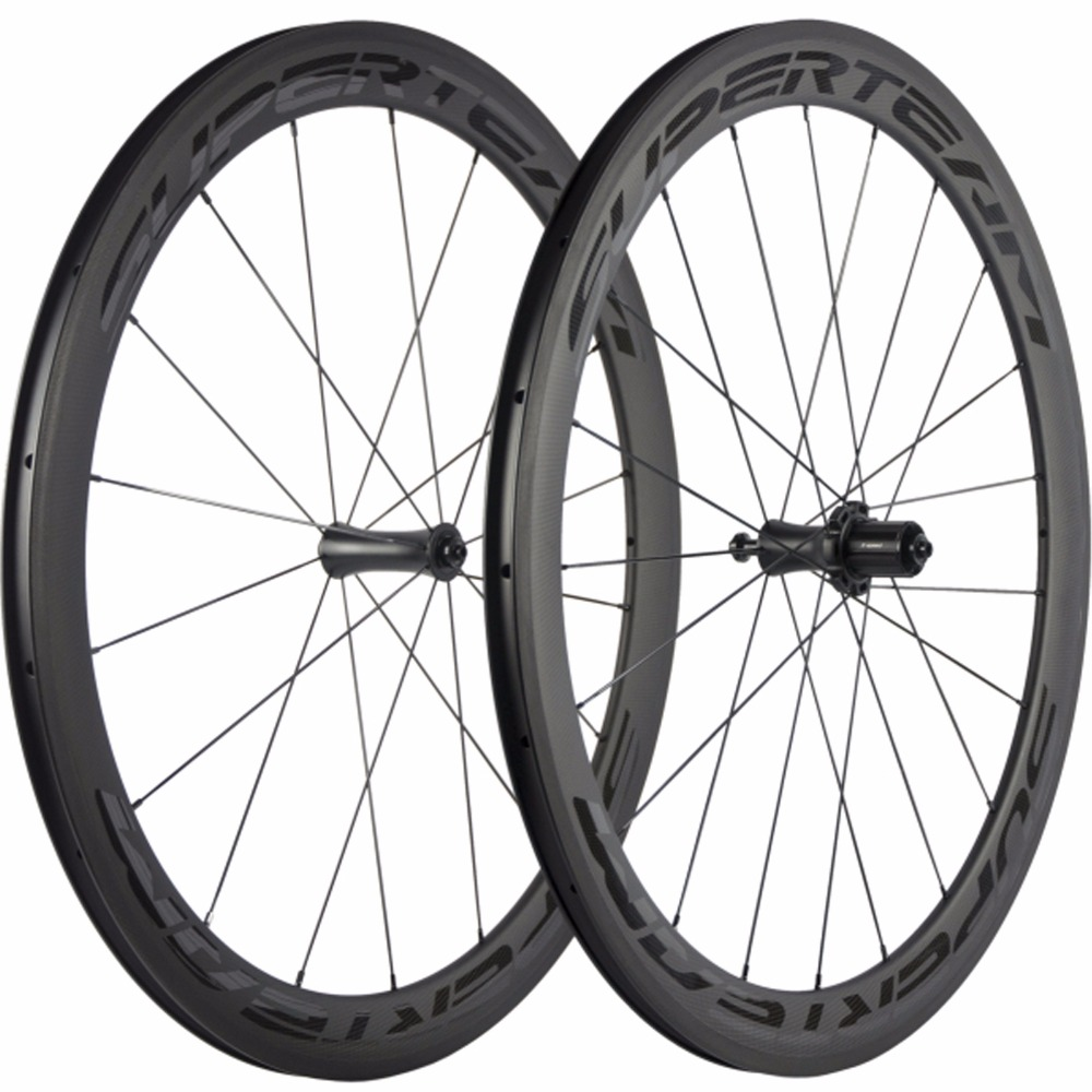SUPERTEAM 700C 50mm Clincher Bike Carbon Road Bicycle Wheels Carbon Wheelset Basalt Braking Surface Glossy Decal