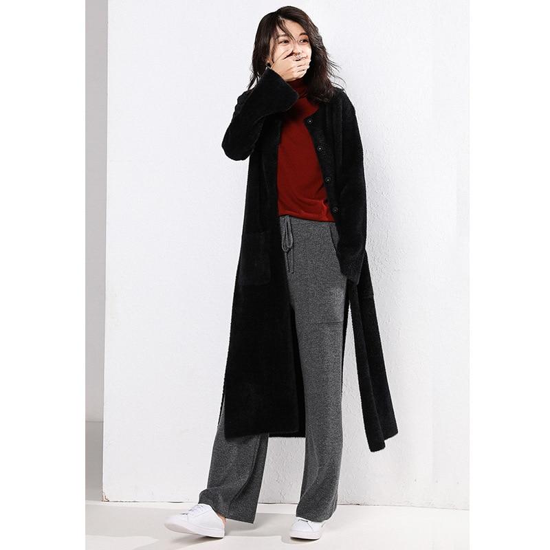 Automne De 2018 Noir Classique Femelle Rond Longues Tempérament Manteau Mode Manches Split Et À Femmes D'hiver Col Nouvelles SqfXqd