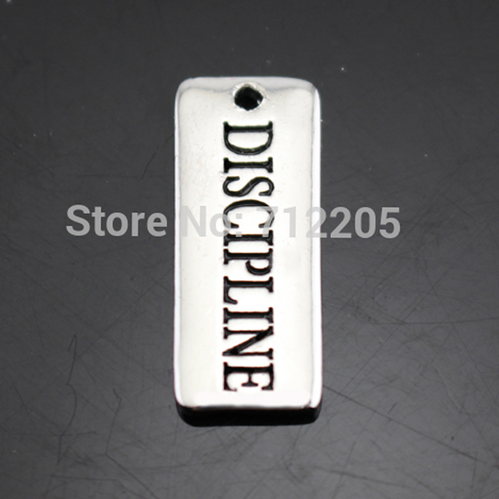 New Arrival Hand stamped  Antique silver 100pcs 1 lot Vintage Rectanglet Discipline Charms DIY necklace and bracelet