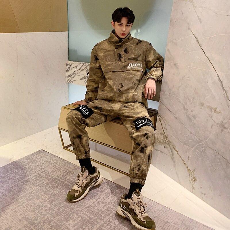 Vintage Camouflage Men Sets Cotton Japanese Loose Hip Hop Streetwear Suits Camo Tooling Coat+Pant  Man Clothes Set DS50573