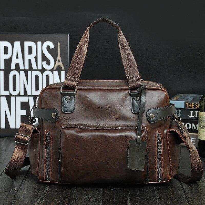 Vintage Designer Briefcase Men Handbag Crazy Horse Leather Messenger Bags Business Coffee Laptop Bag Man Crossbody Travel Bags