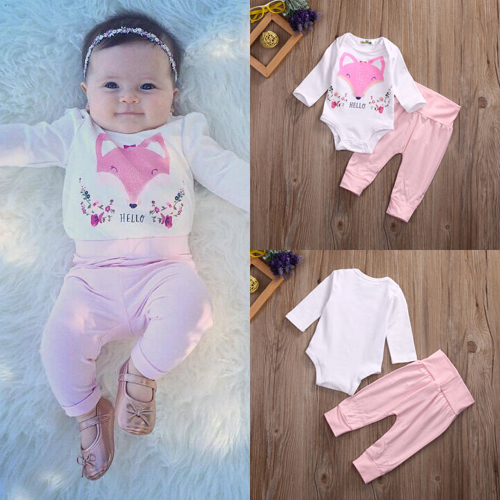 Baby Girl Clothes Set Newborn Infant Baby Girls Fox Bodysuit Tops Leggings Pants 2Pcs Outfit Clothing Set Children Clothes fashion 2pcs set newborn baby girls jumpsuit toddler girls flower pattern outfit clothes romper bodysuit pants