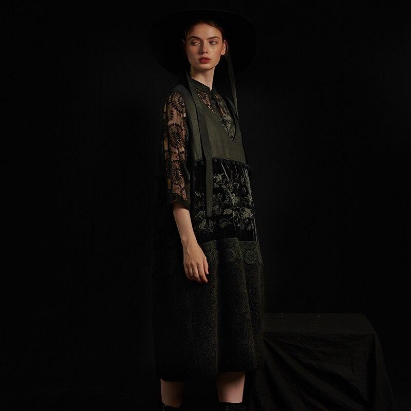 概要黒 V ネックミディアム · 長さ綿ベスト 3 次元装飾刺繍ステッチ厚み綿のベスト L184Y018  グループ上の レディース衣服 からの ベスト & チョッキ の中 2