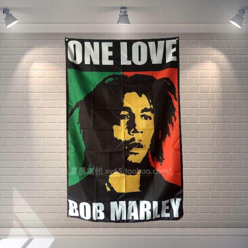 """un Amore Bob Marley"" Musica Rock Poster Di Stoffa Bandiera Bandiere Cafe Galleria Bar Biliardo Sala Studio Theme Wall Hanging Decoration"