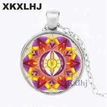 XKXLHJ Mandala St. Lotus Necklace 3D Flower Art Photo Glass Bevel Time Gem Bag Charm Pendant OM Yoga Jewelry