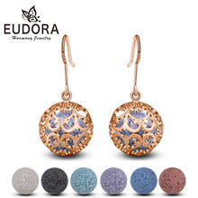 EUDORA 12mm Flower of life Cage Drop Earring Rose Gold Aromatherapy Hook fit Lava Stone Ball Angel Caller Jewelry HR09