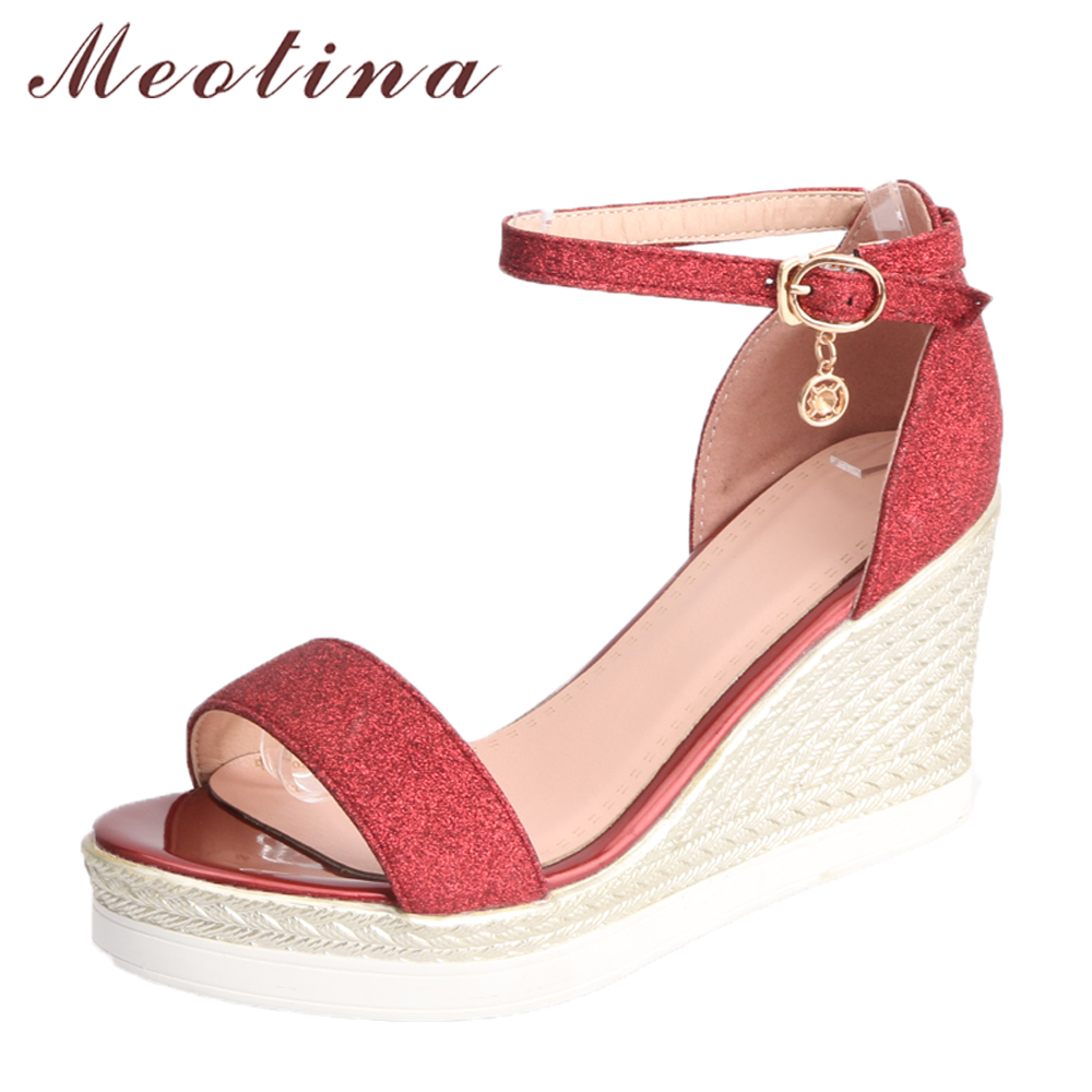 Meotina Women Sandals High Heels Summer Shoes Ankle Strap Buckle Ladies Party Shoes Platform Wedges Sandals Red Large Size 34-43 red high heels women shoes open toe ankle strap blue sandals stiletto chic fringed party d orsay shoes ladies large size 16