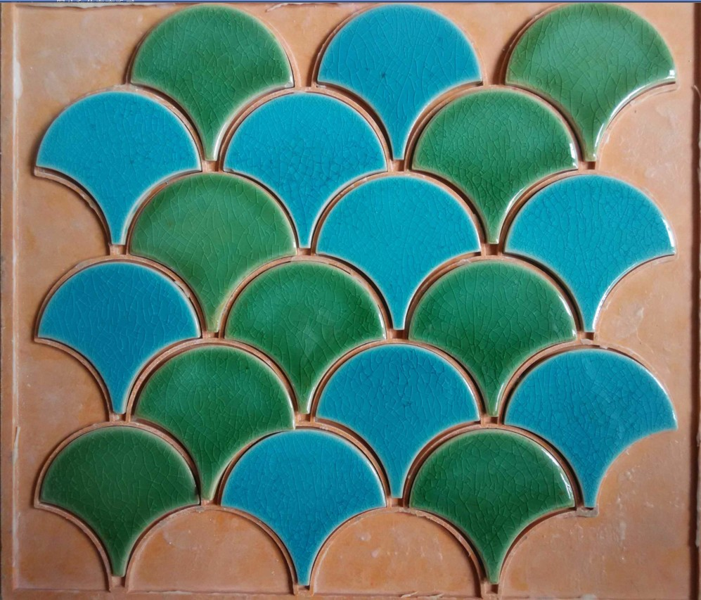 ⑤blue green fish scale ceramic mosaic tile kitchen backsplash ...