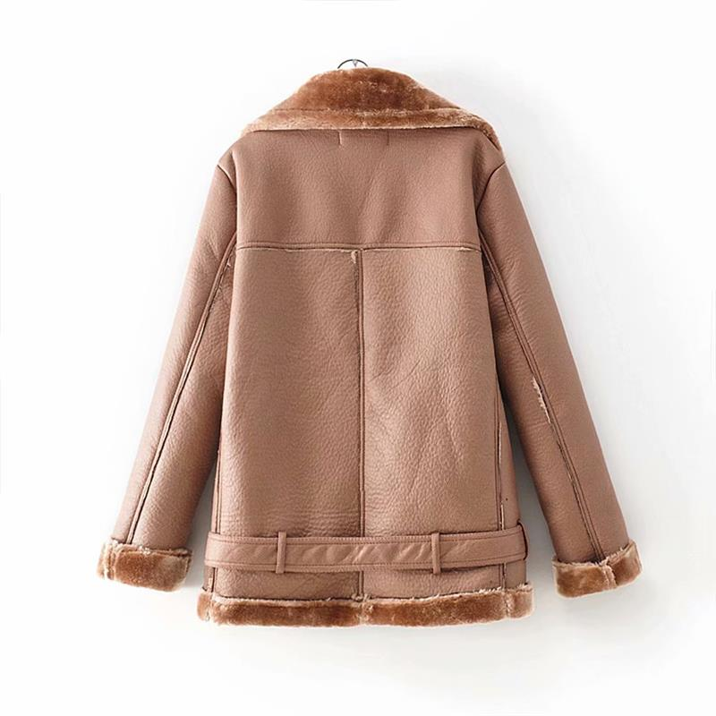 HTB1jFLFXiHrK1Rjy0Flq6AsaFXaw - Warm women's wintemotorcycle velvet jacket female short lapels fur thick Korean version plus velvet jacket bomber jacket