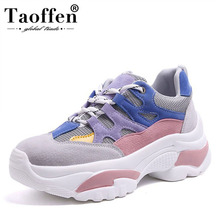Taoffen Casual Girl Vulcanized Shoes Platform Wedges Mixed Color Cross Tied Sneakers Mountain Hiking Shoes Women Size 35-40