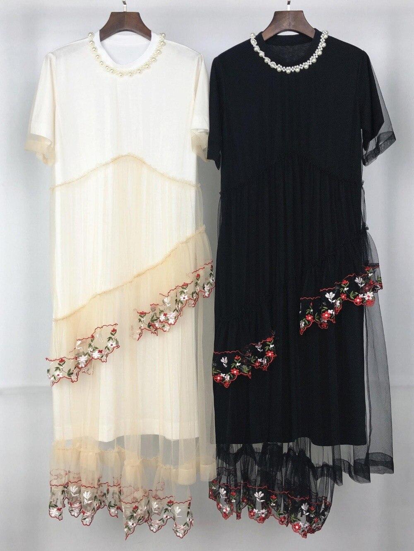 20 19 printemps et été femmes nouvelle robe en maille brodée 0419