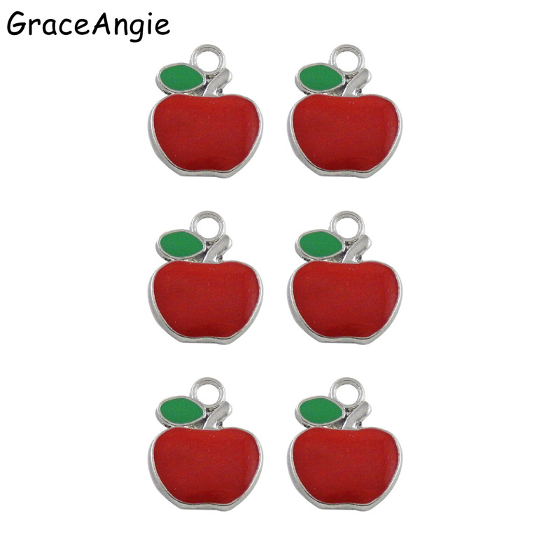 20pcs Jewelry Making Enamel Alloy Red Apple Shaped Pendants Charms Accessories