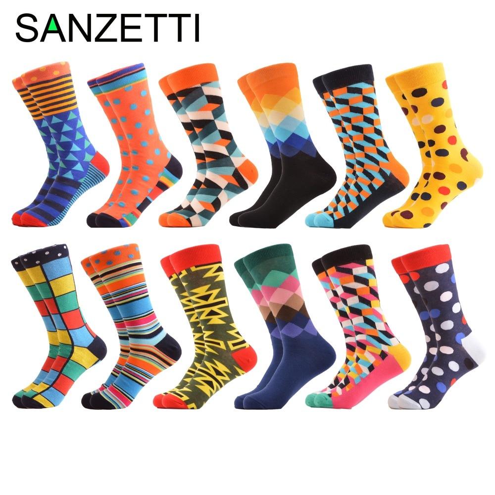 SANZETTI 12 pairs/lot Colorful Mens Funny Happy Socks Diamond Dot Tube Geometric Funny Combed Cotton Calcetines Largos Hombre