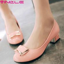 Sweet Pink Women Shoes Thick Low Heel Woman Pump Slip on Platform  Summer Shoes PU Ladies Wedding Shoes Big Size 34-43 Black