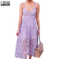 LAISIYI Sleeveless V neck Lace Women Dress Elegant Spaghetti Strap Sexy Party Formal Dresses Bohemian Long Sundress ASDR21317