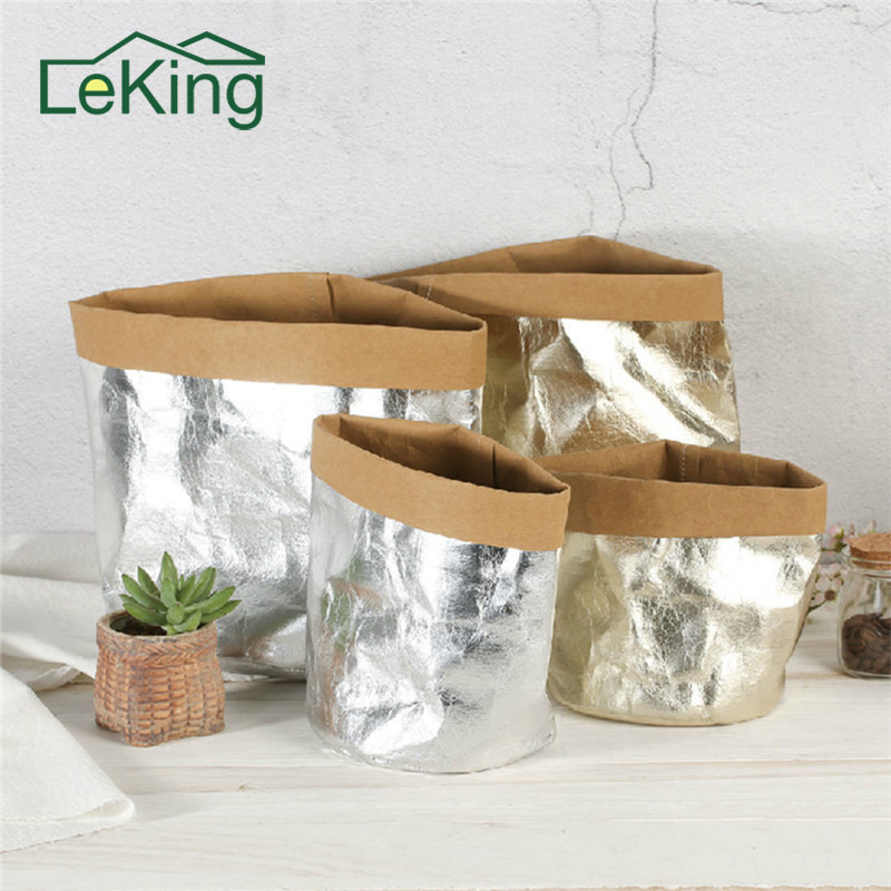 Metal Kraft Paper Flower Pot Decorative Cover Storage Bags of Fruit and Vegetable Garlic Onion Succulent Plant Home Storage