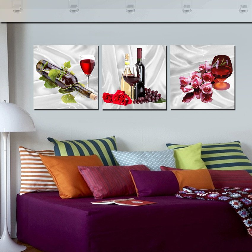 Home decoration 3 pieces no frame art picture canvas for Home made decoration pieces