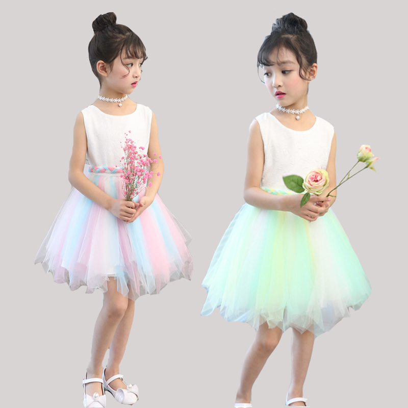 Kids Dresses For Girls Rainbow Mesh Dress Sleeveless Children Princess Party Dresses Girls Sundress 2017 Summer Ball Gowns 2-12Y щипцы braun st 550 mn чёрный