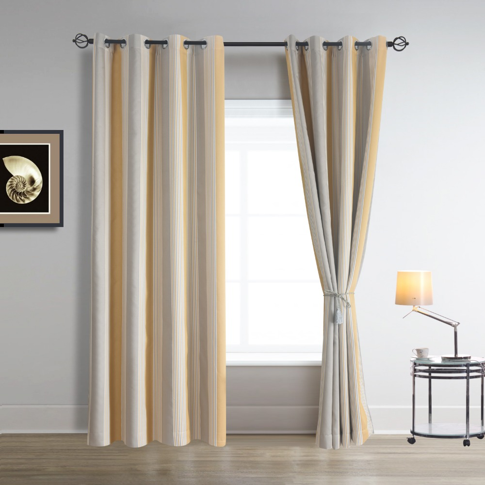 Vertical Stripe Yellow And Greenish Gray Blackout Room Darkening Window Curtains Single Panel For Living With Grommet Top