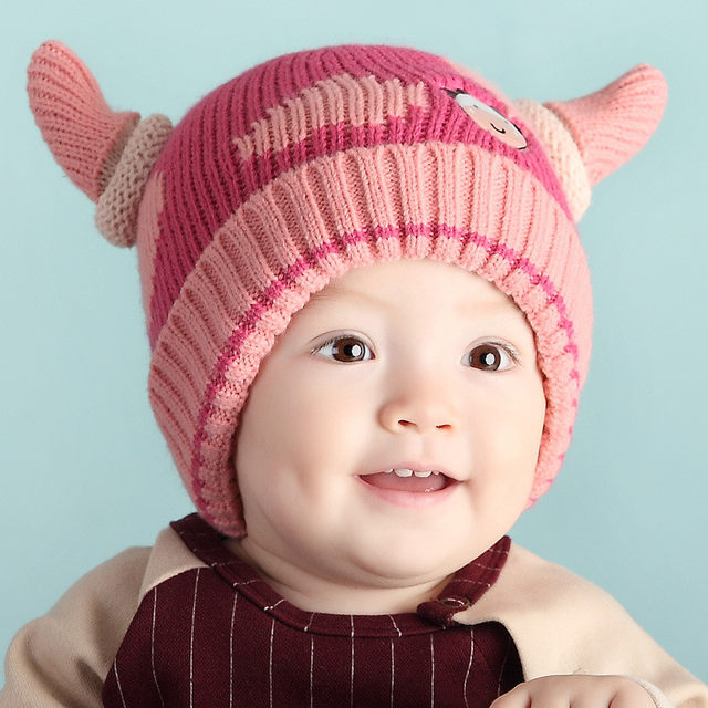 7102b94df38 Knitted Baby Hats Winter Warm Plus Velvet Girl Boy Crochet Beanies Cartoon Cow  Hat Ox Horns Toddler Infant Caps Christmas Gift