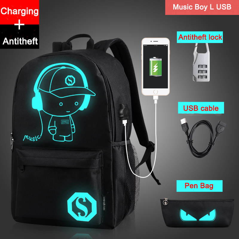 Drop Shipping Noctilucent Cartoon Teenager Backpack School Bags For Boy Night Lighting Bags With Free USB+Pen Bag+Antitheft Lock