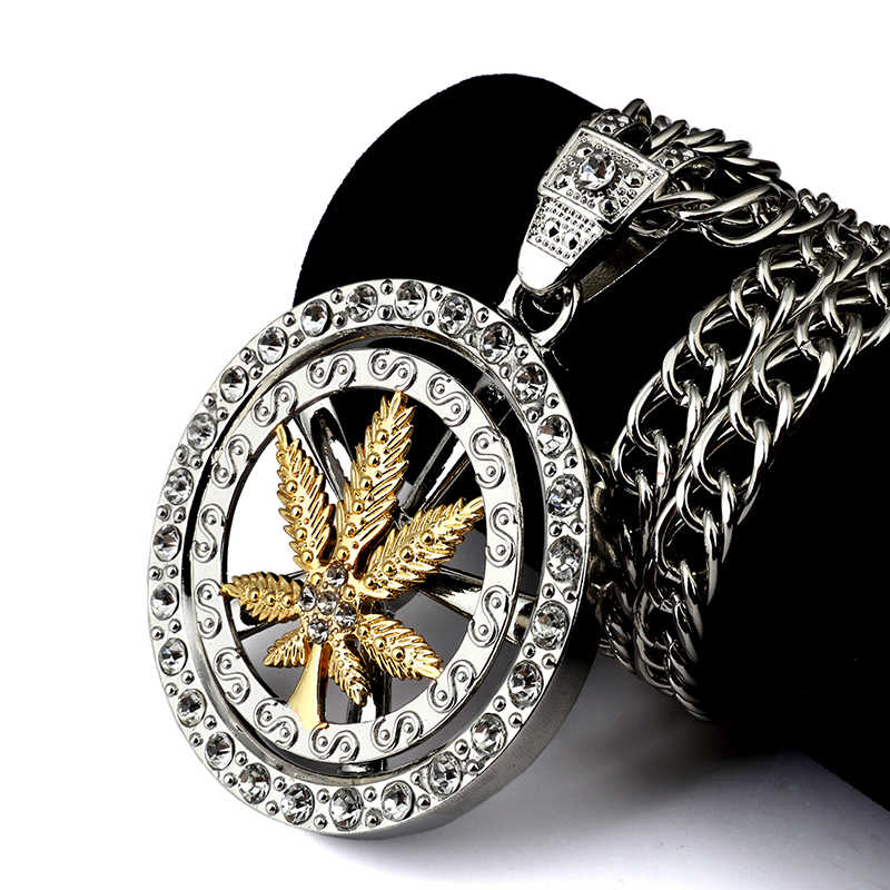 Hip Hop bling Jewelry Gifts Pendants  Golden Whirligig Spin Hemp Leaf Necklaces Men Women Charm Crystal Weed Chains