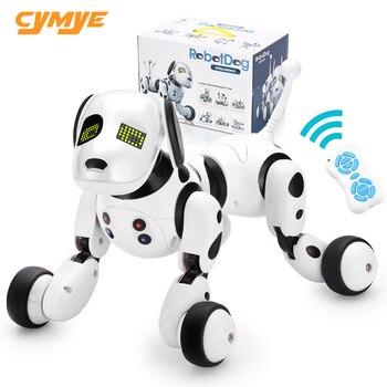 Cymye robô cão eletrônico animal de estimação inteligente cachorro robô brinquedo 2.4g inteligente sem fio falando controle remoto