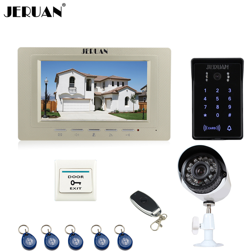 JERUAN Home wired 7`` LCD Video Door Phone Intercom System waterproof Password keyboard Access IR Camera + 700TVL Analog Camera programmable usb emulator rs232 interface 15keys numeric keyboard password pin pad yd531 with lcd support epos system