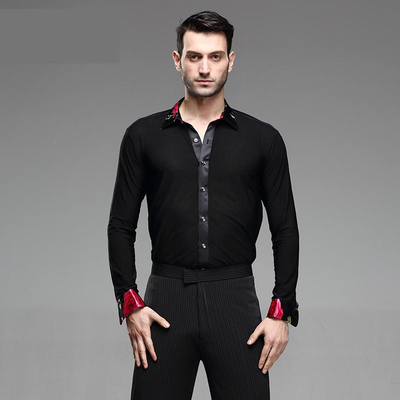 Dance Shirt Mens Latin Ballroom National Standard Competition Performance Modern Salsa Tango Samba Men Shirts Dance Costume Tops