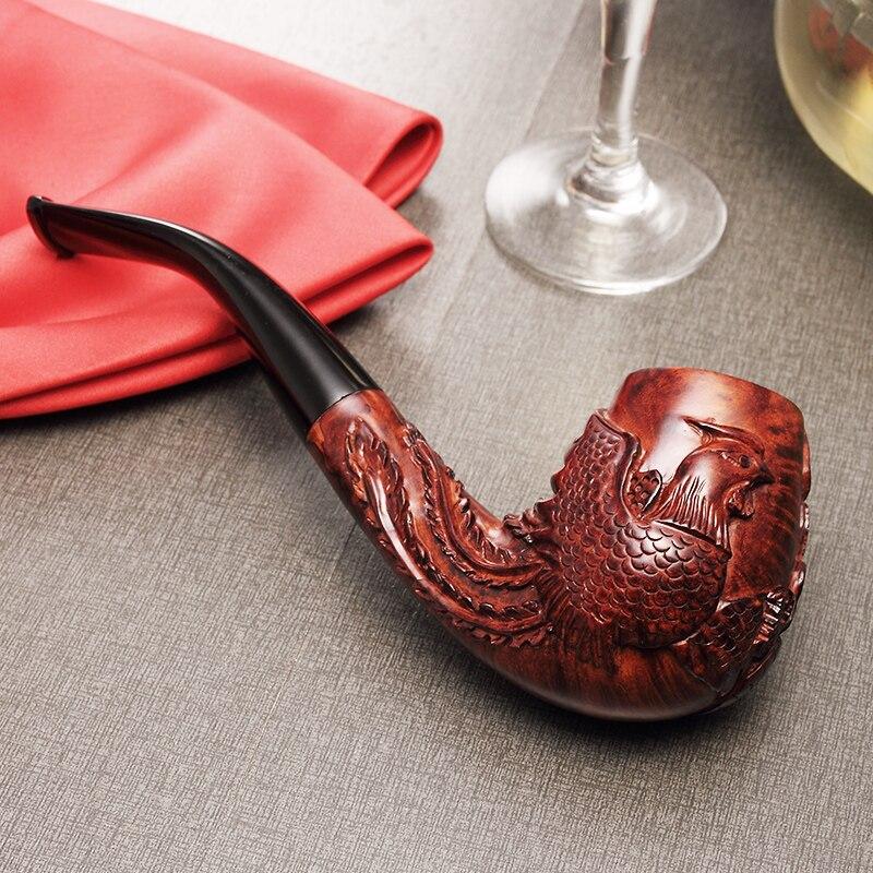 2020 nova adous mão esculpida dragão e phoenix china briar vento tabaco tubos de fumo 9mm