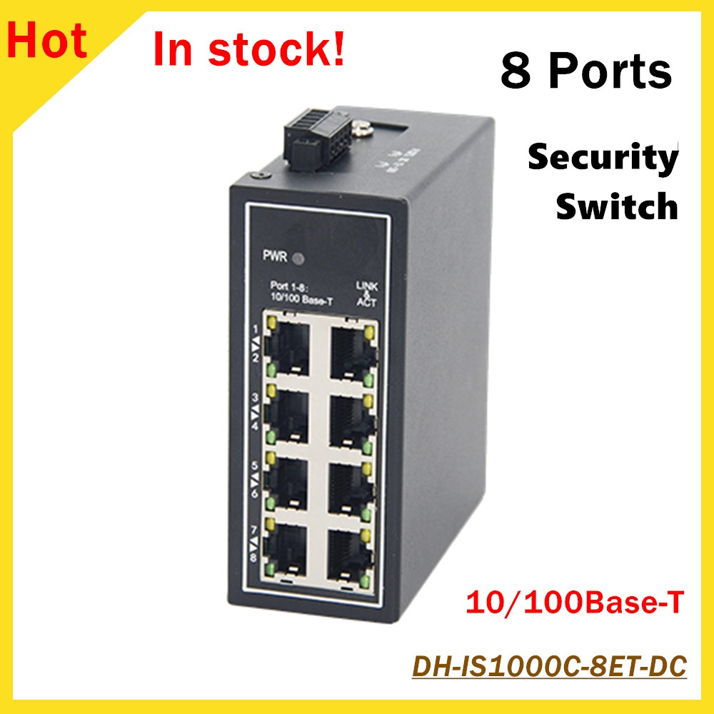 Original Dahua 8 Ports Unmanaged Security Industrial Switch DH-IS1000C-8ET-DC 8*10/100Base-T Ethernet Ports