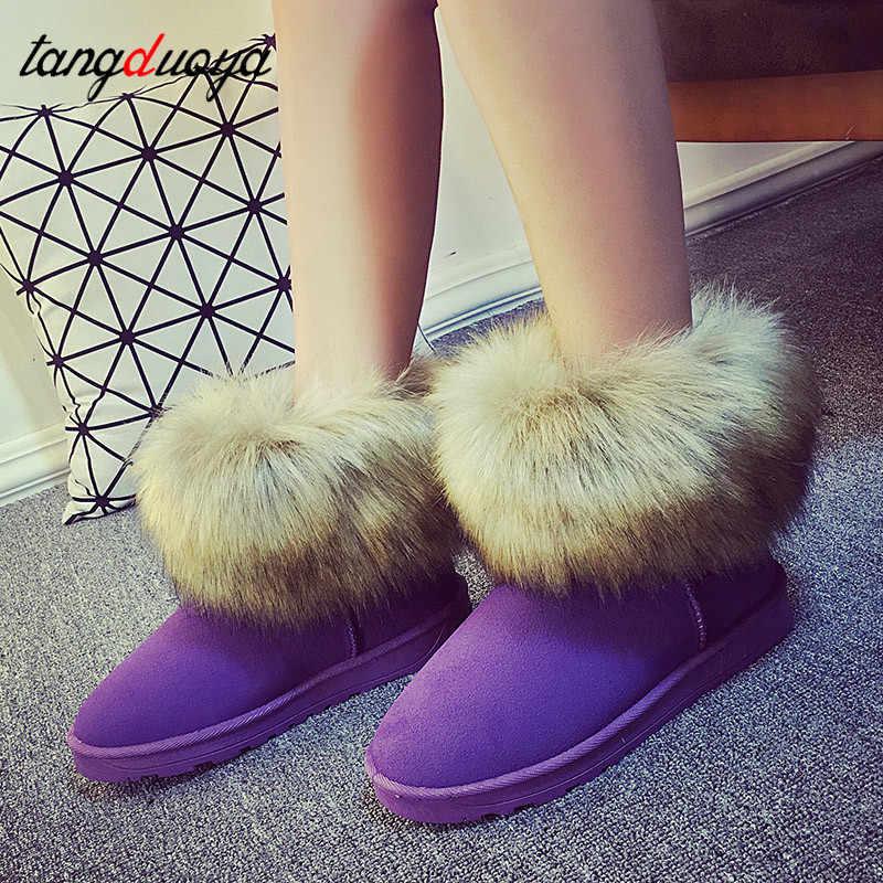 Damskie buty zimowe buty śniegowe damskie buty zimowe buty na niskim obcasie dla pań botki damskie buty śniegowce zapatos de mujer