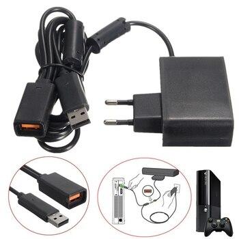 Черный Блок питания переменного тока 100-240 В, адаптер с вилкой европейского стандарта, зарядное устройство с USB для Microsoft, для Xbox 360, Kinect Sensor