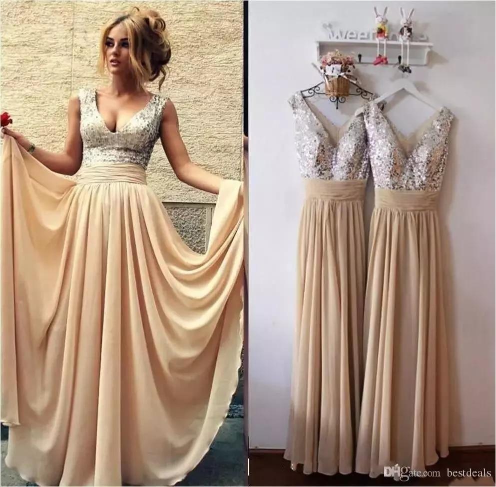 2018 Cheap deep V Neck A Line bride Gown Arabic Prom party Dress Burgundy robe demoiselle d'honneur Sequins Bridesmaid Dresses