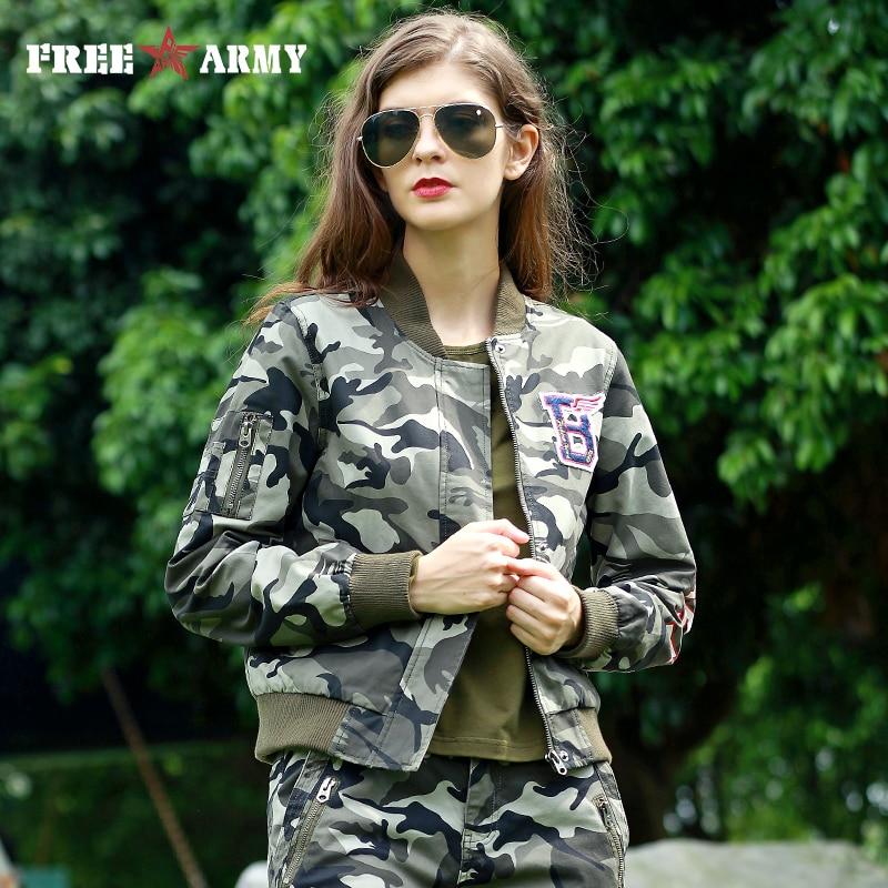 FREE ARMY Women Baseball Jacket Coat Motorcycle Jacket Short Military Zipper Jacket Fashion Camo Cotton Flight