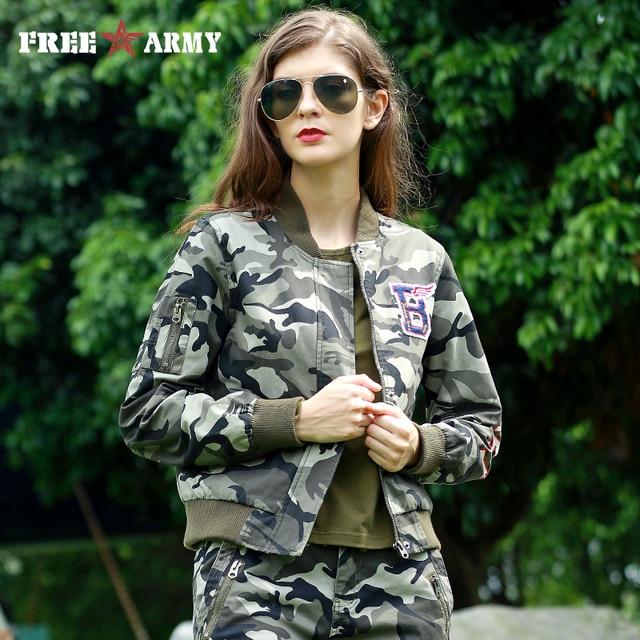 FREE ARMY Women Baseball Jacket Coat Motorcycle Jacket Short Military Zipper Jacket Fashion Camo Cotton Flight Jacket For Female