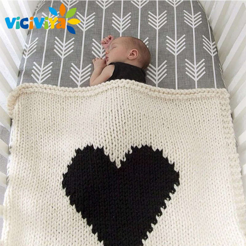 Loving Heart Baby Blanket Knitted Baby Bedding Wrap Soft Blankets Girls Blankets Newborn Big Rabbit Ear Swaddling Play Mat ^