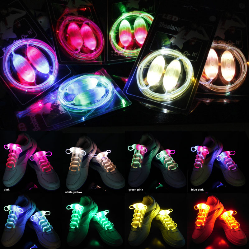 Reflective Round Rope Shoe Laces Night Running Shoestrings Glow In Dark Neon