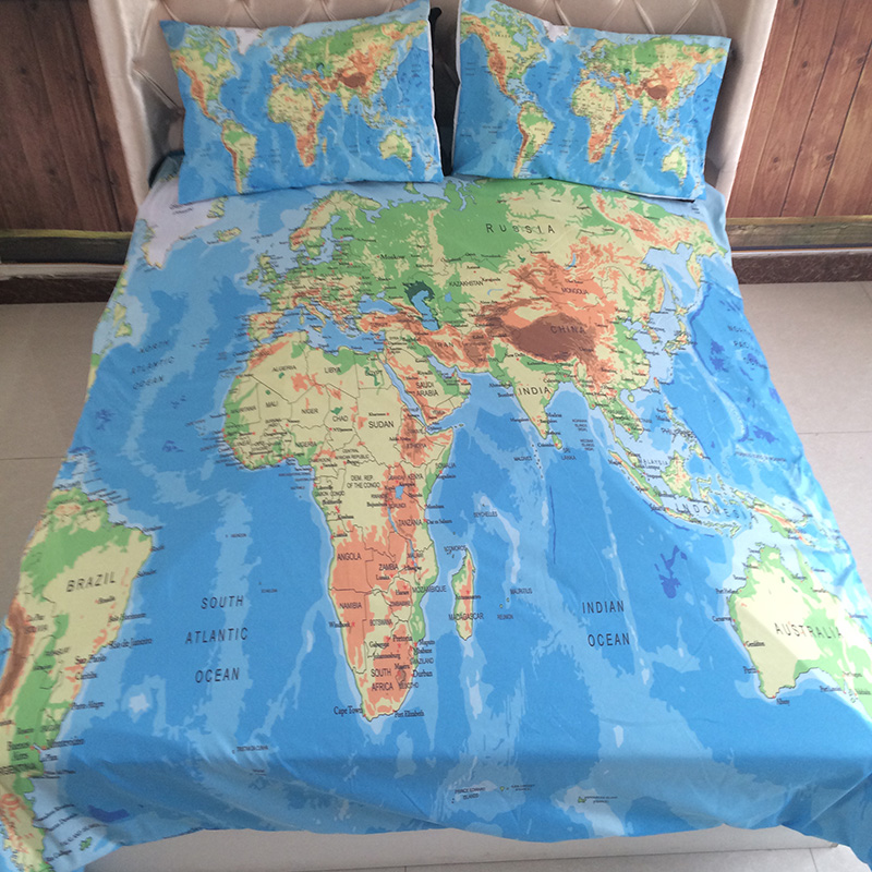 Luxury world map bedding set vivid printed blue bed cover twill cozy luxury world map bedding set vivid printed blue bed cover twill cozy duvet cover set king queen full twin size 34pcs bed linen in bedding sets from home gumiabroncs Gallery