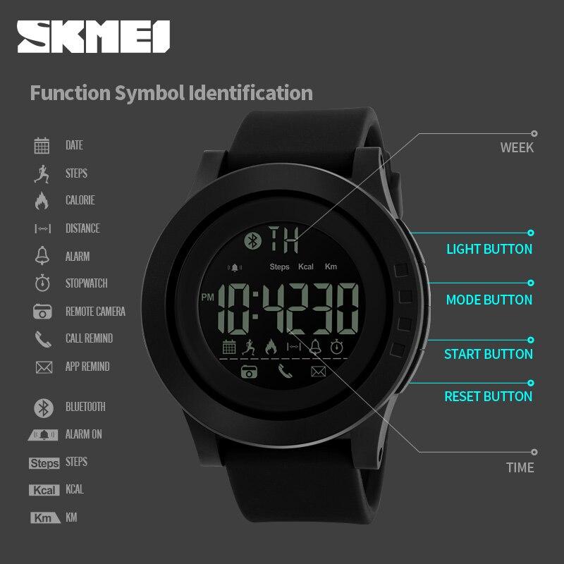Symbol Der Marke Smart Watch Skmei Bluetooth Schrittzähler Kalorien Fernbedienung Kamera Digitale Armbanduhren Mode Sport Smartwatch Für Iphone Android Uhren