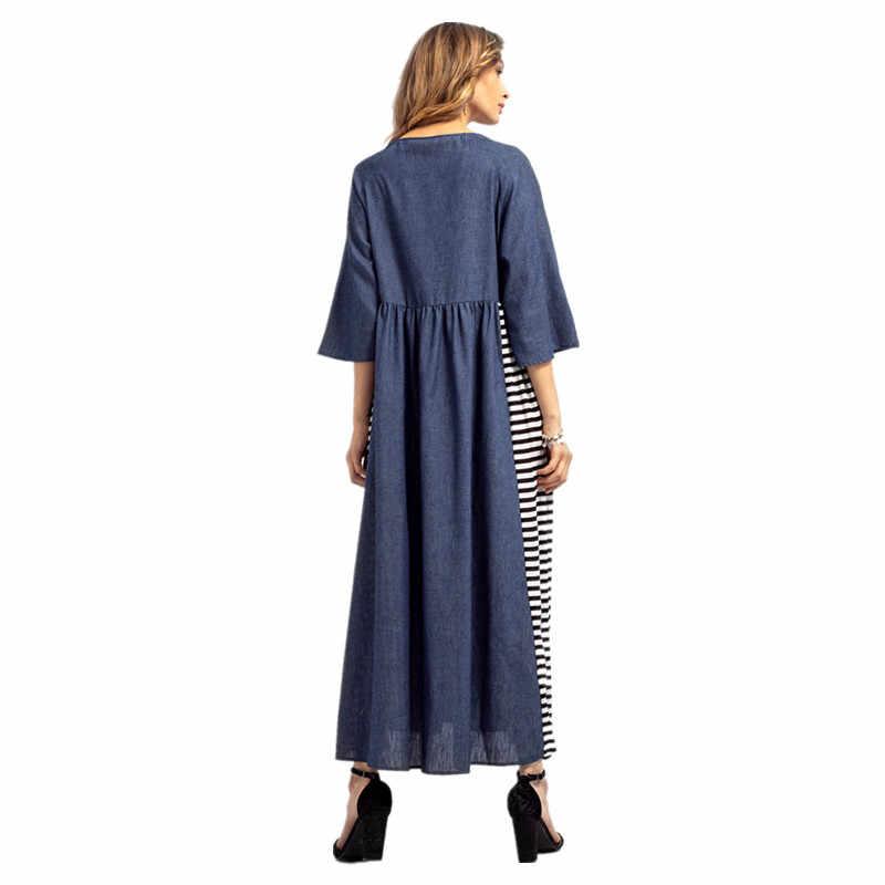 платье летнее женское платья больших размеров джинсовый сарафан женский летний джинсовое платье длинное летние платья и сарафаны туники женские синий полосатый платье повседневное большой размер одежда для женщин 83035