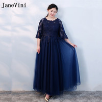 JaneVini Navy Blue Plus Size Mother of The Bride Dresses with Half Sleeves Lace Sheer Tulle Women Formal Long Evening Gowns 2018