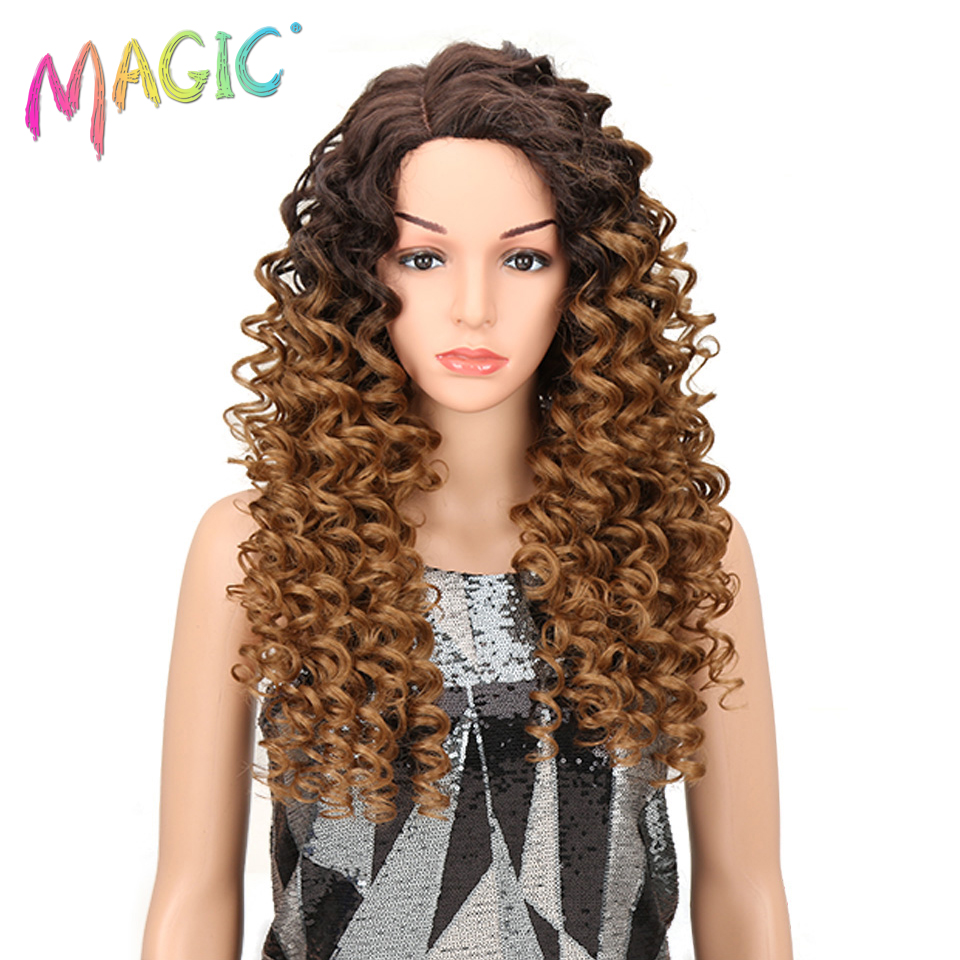 Magic Products Lace Front Wigs 26 Inch Long Loose Wavy Wig Dark Root Synthetic Wig For Black Women 2 Colors Available Free Shipp