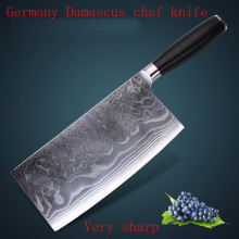 "LD brand VG10 Damascus carbon steel 8.2 ""kitchen chef knife Cleaver knife with Mosaic Rivet Super Quality Free Shipping"