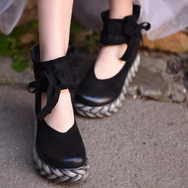 Artmu NEW Women Shoes Flat Platform Vintage Shoes Woman Handmade Leather 7 cm Heel Zip Soft Leather zapatos mujer imc vintage women flat shoes white us4 eur35 length 22 5cm
