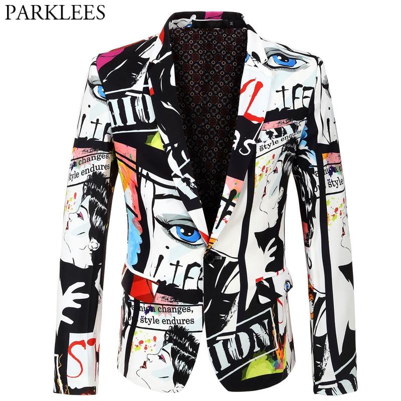 Mens Character Print Blazer Jacket Fashion Plus Size Floral Street Wear Suit Coats Casual Slim Fit Singer DJ Stage Costume Homme
