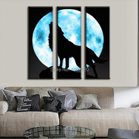 Modern Oil Painting Living Room Decoration Full Moon With The Lone Wolf Paintings On Canvas Decorative Picture