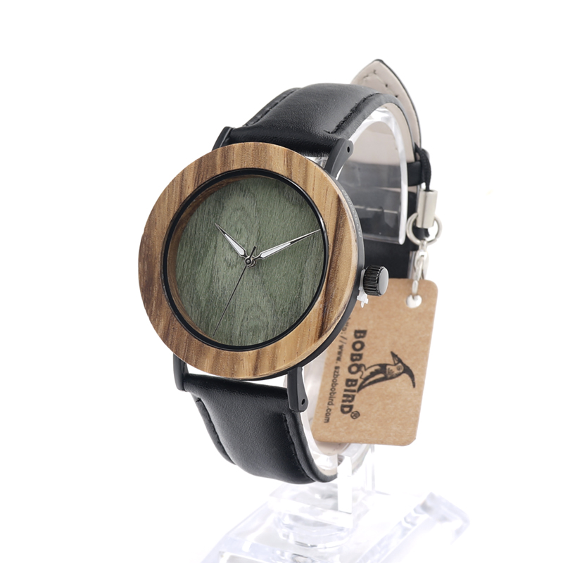 BOBO BIRD LE23 Casual Mujer Wooden Watches Women Green Dial Face with Leather Band Unisex Clock in Gift Box bobo bird brand new sun glasses men square wood oversized zebra wood sunglasses women with wooden box oculos 2017